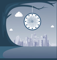 Clock hanging on tree over modern city view time vector