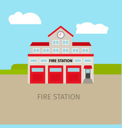 Colored fire station building vector