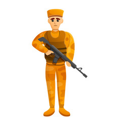 Combat desert soldier icon cartoon style vector
