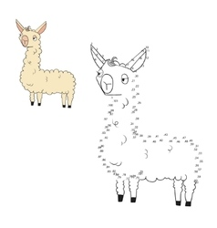Connect the dots game lama vector