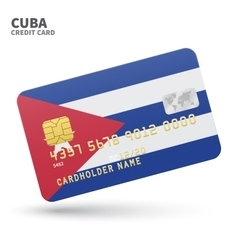 Credit card with Cuba flag background for bank vector