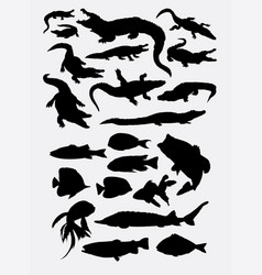 crocodile reptile and fishwild animal silhouettes vector image
