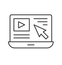 Cursor arrow and video clip on laptop screen vector