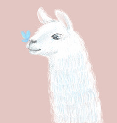Cute and fluffy llama hand drawn vector