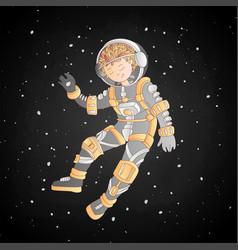 cute cartoon asrtonaut girl floating in space vector image