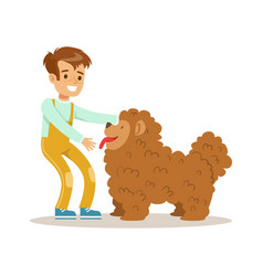 cute happy boy petting his furry dog colorful vector image