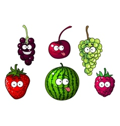 Cute happy colorful cartoon fruits and berries vector image
