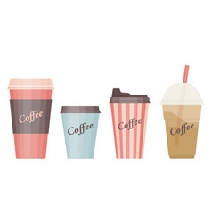 Different coffee cups icon templates isolated on vector