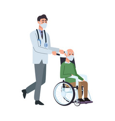 doctor with old man in wheelchair vector image