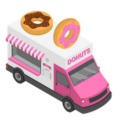 Donuts truck icon isometric style vector