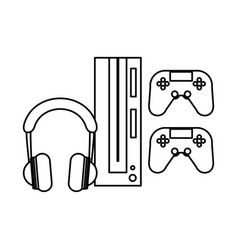 Earphones audio device and video game console vector