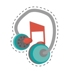 earphones music note dotted line vector image