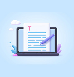 editable online document concept creative writing vector image