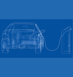 electric vehicle charging station sketch vector image