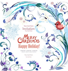 Elegant greeting card with winter pattern and bird vector image