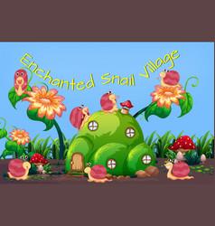 Enchanted snail village template vector