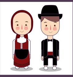 Eurasian wedding couple cute traditional clothes vector