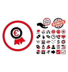 Euro Award Seal Flat Icon with Bonus vector image