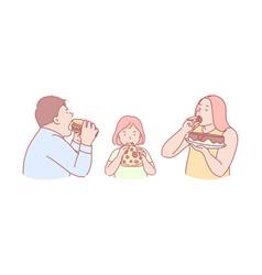 Fast food taste obesity calories concept vector