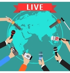 Few hands of journalists with microphones vector image