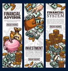 finance and investment business banner with money vector image