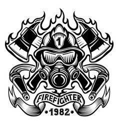 firefighter with axes in flame vector image