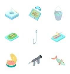 Fishing on river icons set cartoon style vector