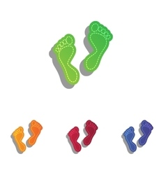 Foot prints sign Colorfull applique icons set vector image