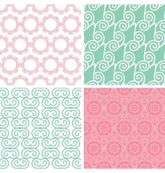 Four pastel abstract swirl motives seamless vector