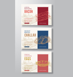 Fresh local food label templates set abstract vector