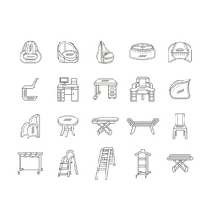 Furniture flat line icons collection vector image