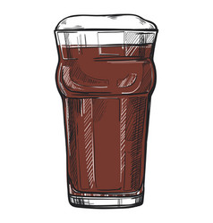Glass beer freehand pencil drawing vector