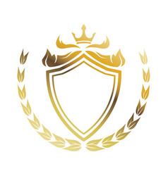 Golden shield crown laurel heraldic luxury frame vector