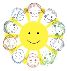 group kids with sun vector image