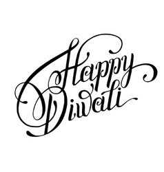 hand lettering inscription Happy Diwali to indian vector image