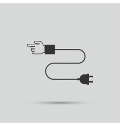 Hand wire connection to an electrical plug vector image