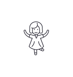 happy girl jumping line icon sign vector image