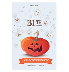 Happy halloween greeting card with pumpkin vector