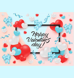 happy valentines day greeting card or banner vector image