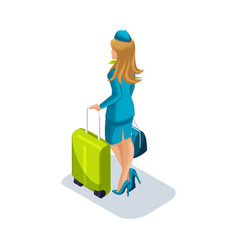 Isometric girl stewardess with things and vector