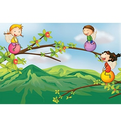 Kids playing at the tree vector