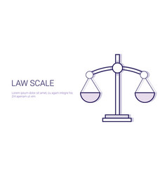 law scale concept template web banner with copy vector image