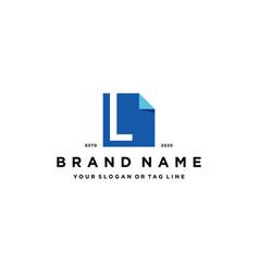 Letter l document logo design vector