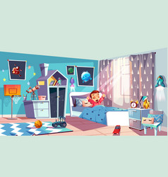 little girl waking up in bedroom vector image