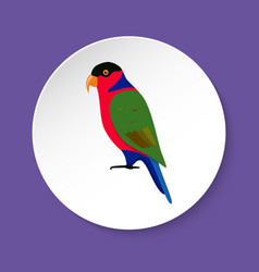 Lory parrot icon in flat style vector