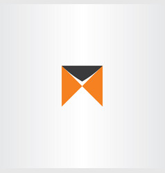 m logo letter orange black icon logotype sign vector image