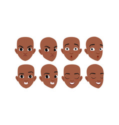 male heads set face african american vector image