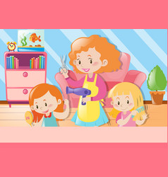 Mother cutting daughters hair at home vector
