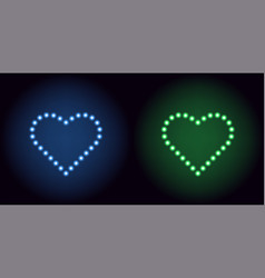 neon dot heart in blue and green color vector image