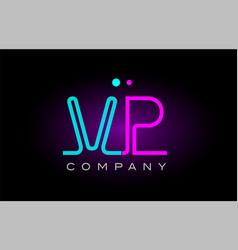 neon lights alphabet vp v p letter logo icon vector image